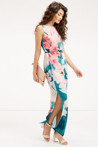 Oasis, FLORAL MAXI DRESS Teal Green 2