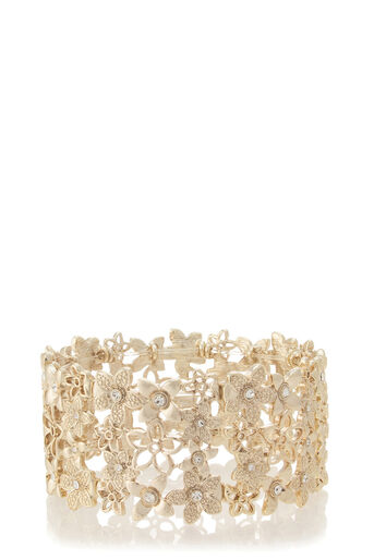 Oasis, Stretchy Flower Cuff Gold 0