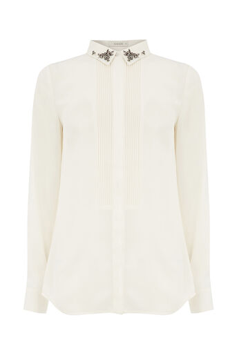Oasis, EMBELLISHED COLLAR SHIRT Off White 0