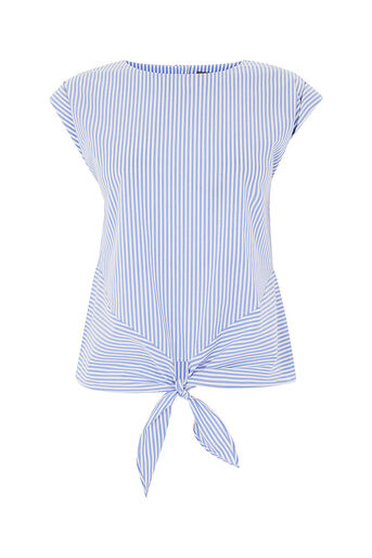 Oasis, TICKING STRIPE TIE FRONT TEE Multi Blue 0