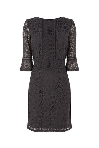 Oasis, NTU KICK SLEEVE LACE DRESS Mid Grey 0