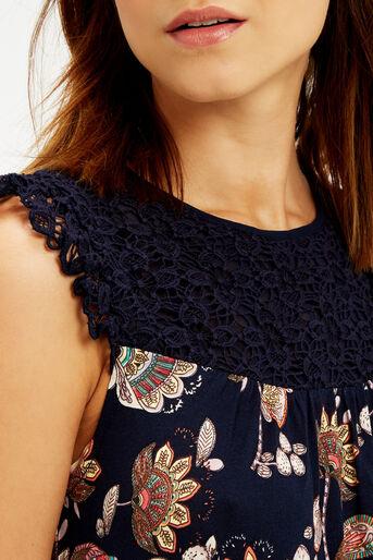 Oasis, Goddess Crochet Top Navy 4