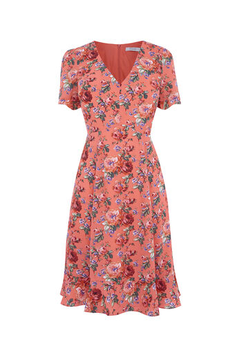 Oasis, LONG UTILITY ROSE TEA DRESS Multi Red 0