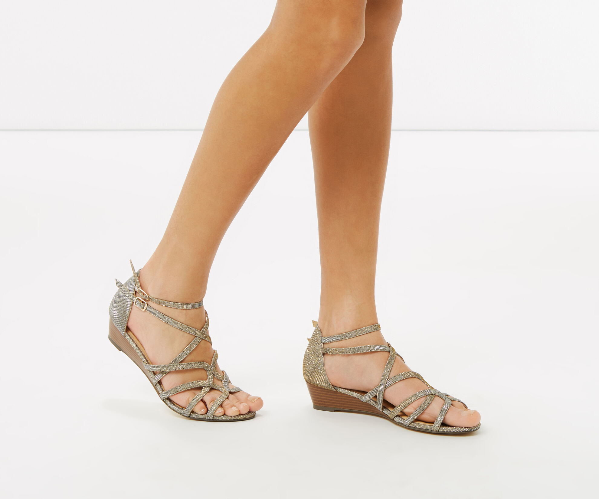 Oasis, Sparkle Wedge Sandals Multi Silver 1