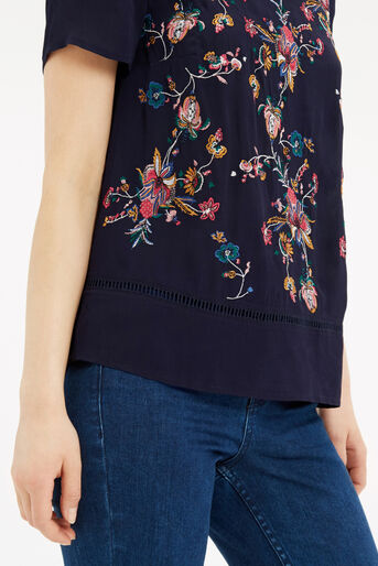 Oasis, Embroidered T-Shirt Multi Blue 4