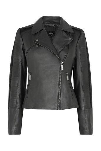 Oasis, Penny Leather Biker Jacket Black 0