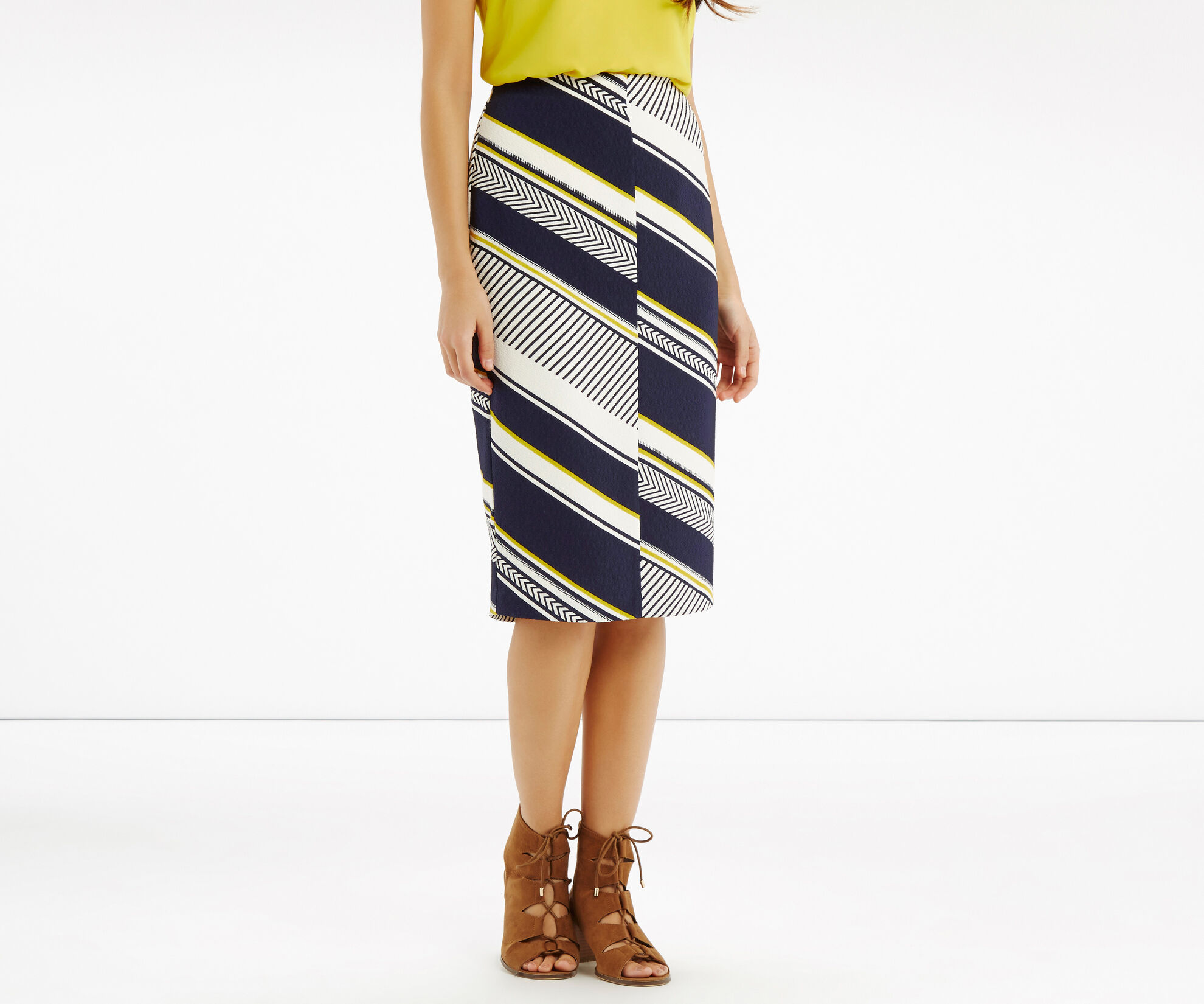 Oasis, Memphis Stripe Pencil Skirt Multi Blue 1