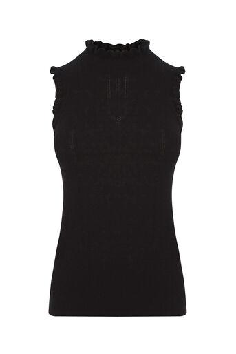 Oasis, Sleeveless frill knit Black 0