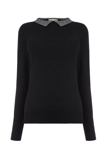 Oasis, SPARKLY COLLAR KNIT Black 0