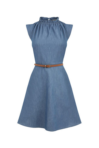 Oasis, Chambray Frill Dress Denim 0
