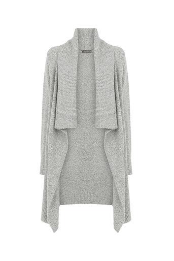 Oasis, Drape tweed cardigan Mid Grey 0