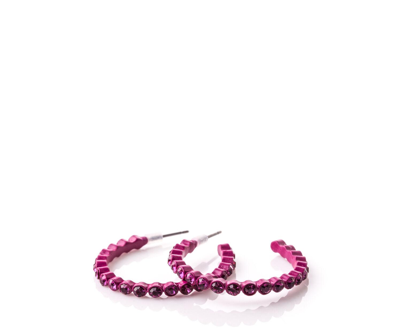 Oasis, PINK DIAMANTE HOOPS Bright Pink 1