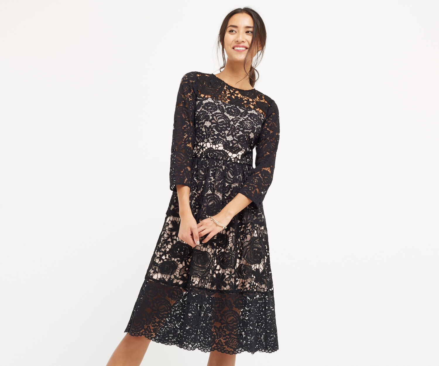 Oasis, LACE SLEEVE MIDI DRESS Black 1