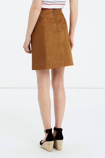 Oasis, SUEDETTE AND PU LEATHER SKIRT Tan 3