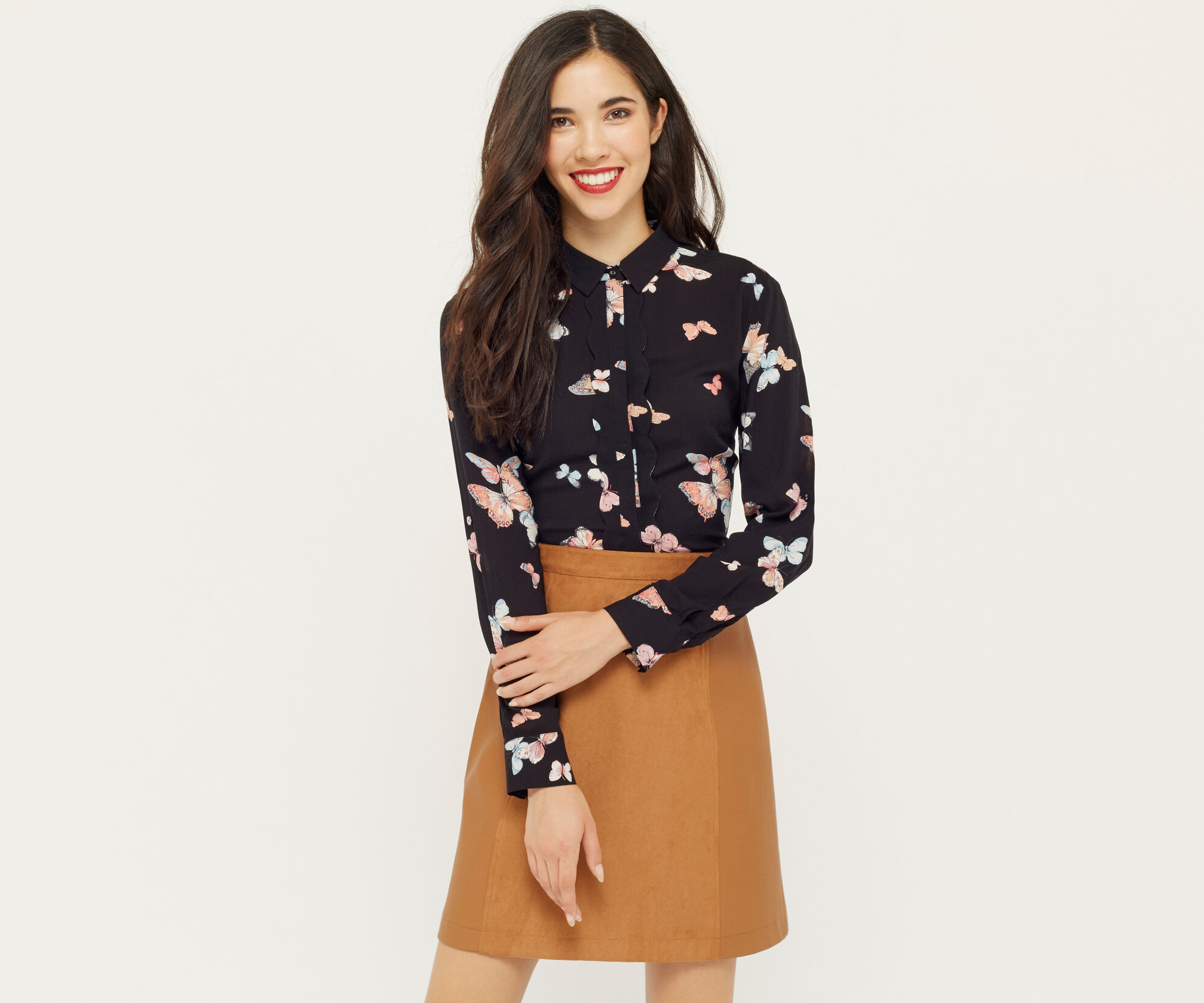 Oasis, BUTTERFLY SCALLOP SHIRT Multi Black 1
