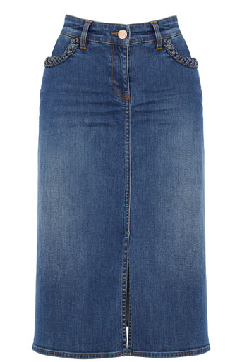 Oasis, Plaited Midi Skirt Denim 0
