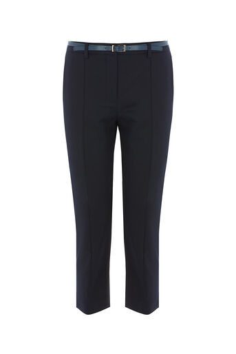 Oasis, COMPACT COTTON CAPRI TROUSER Navy 0