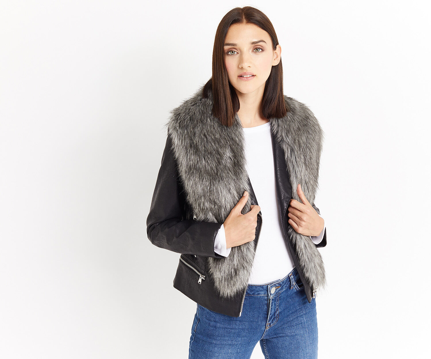 Oasis, FAUX FUR TIPPET Mid Grey 1
