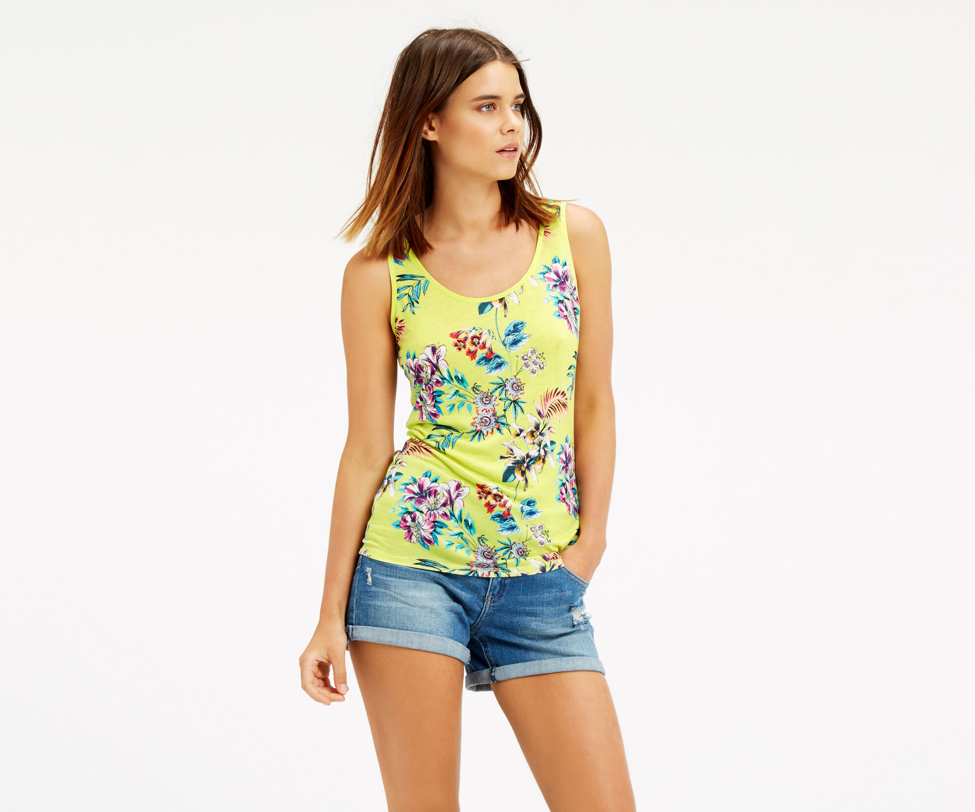 Oasis, Malay Tropical Print Vest Mid Yellow 1
