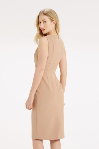 Oasis, COLOURBLOCK V NECK DRESS Camel 3