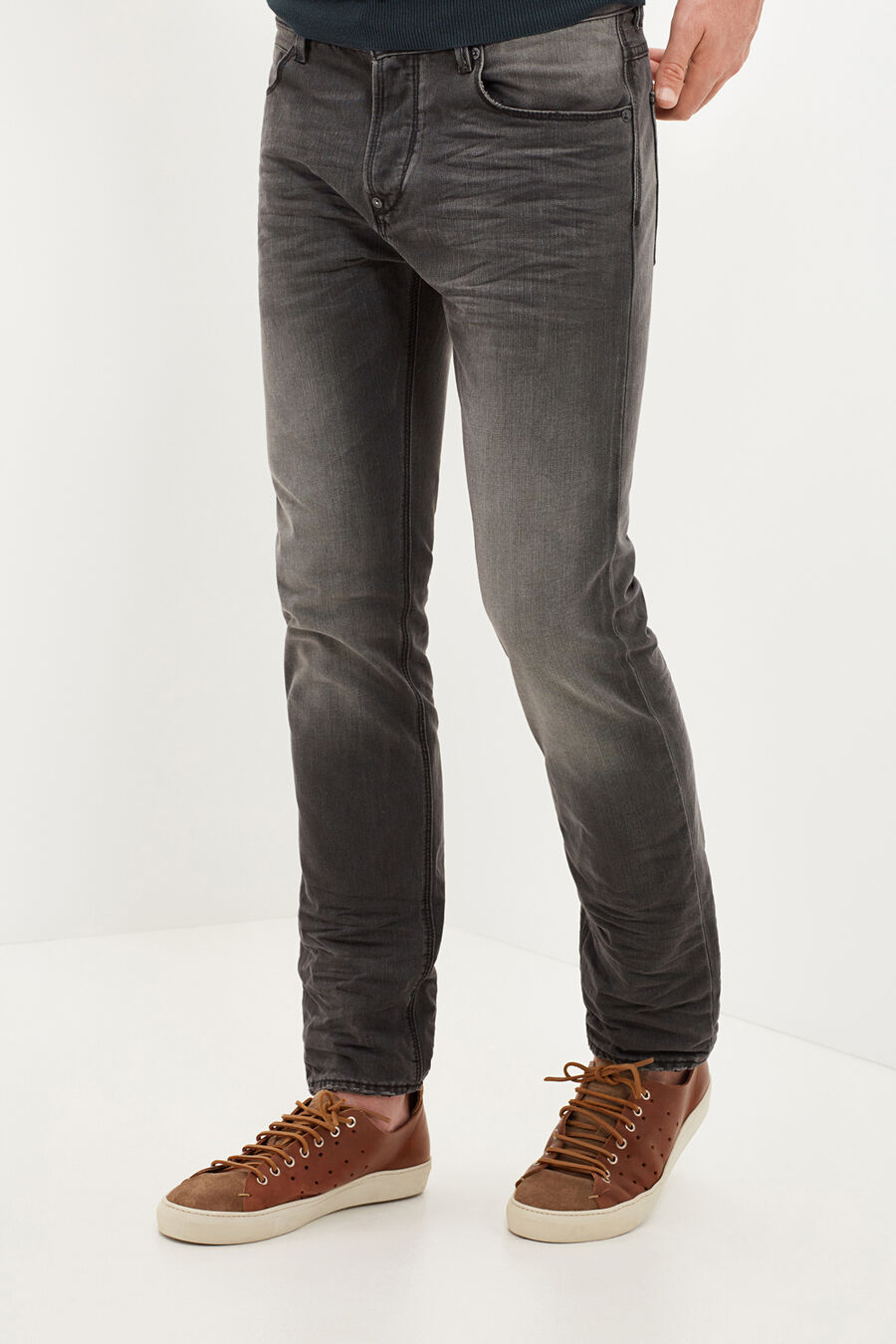 Cotton straight fit denim trousers