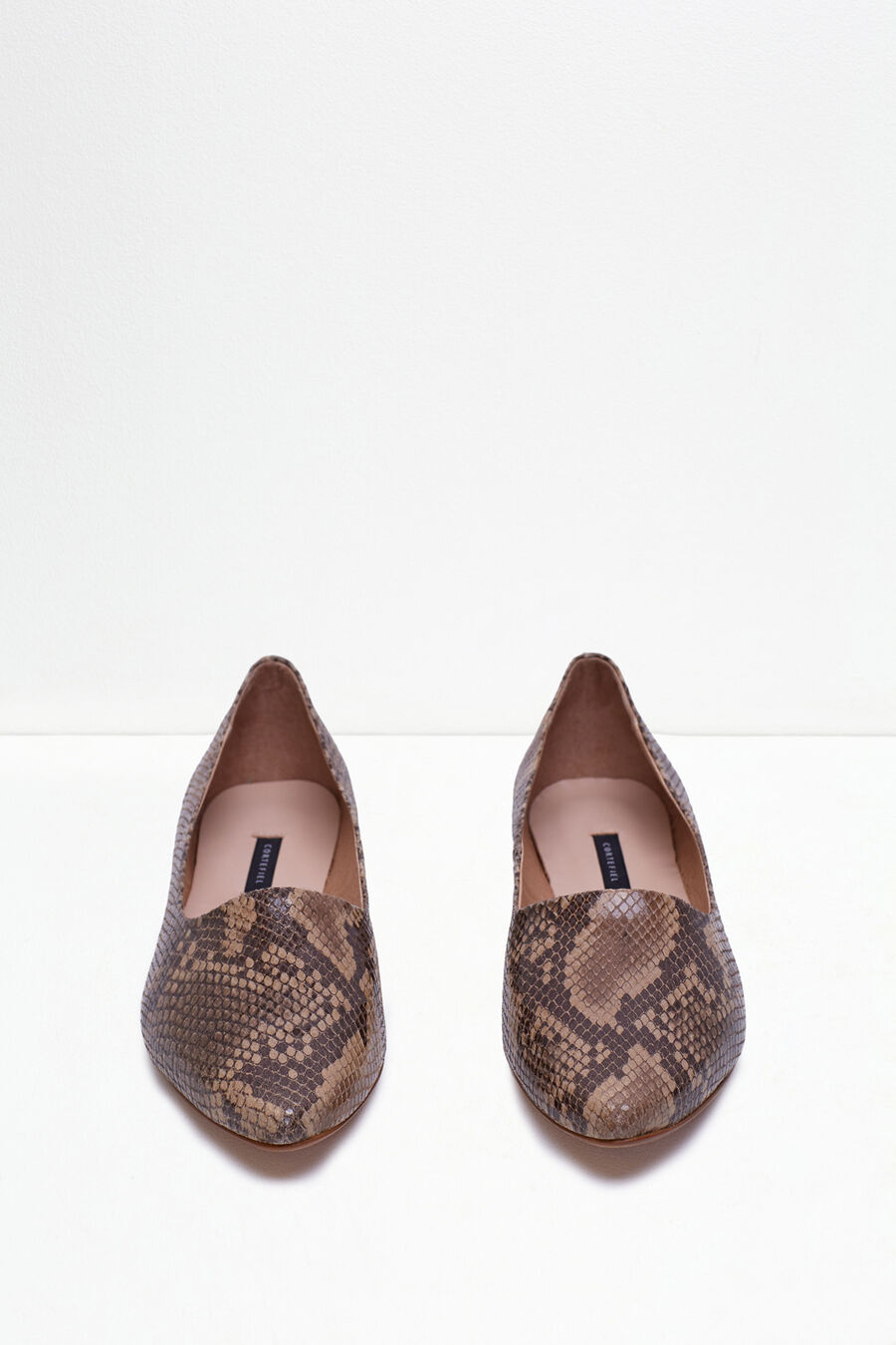 Snakeskin leather slippers
