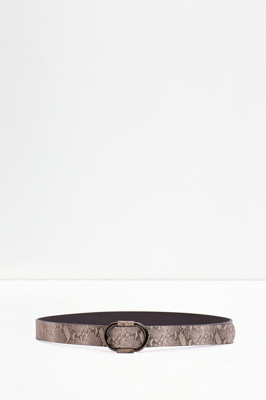 Snakeskin print belt