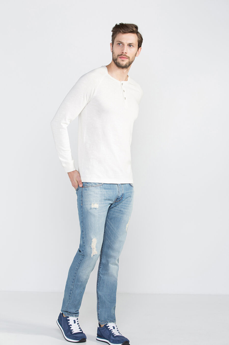 Jumper with henley neck