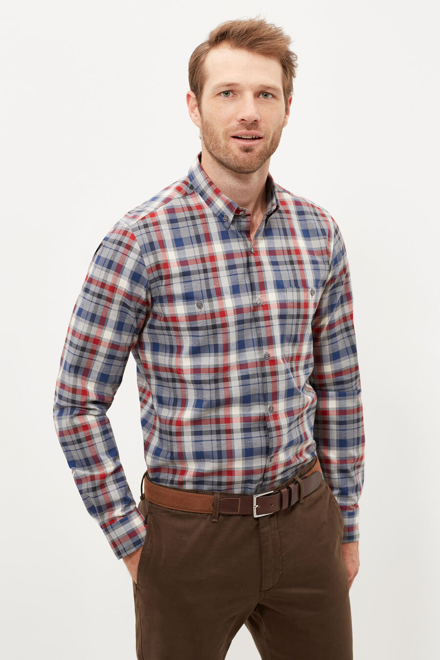 Melange tailored fit shirt