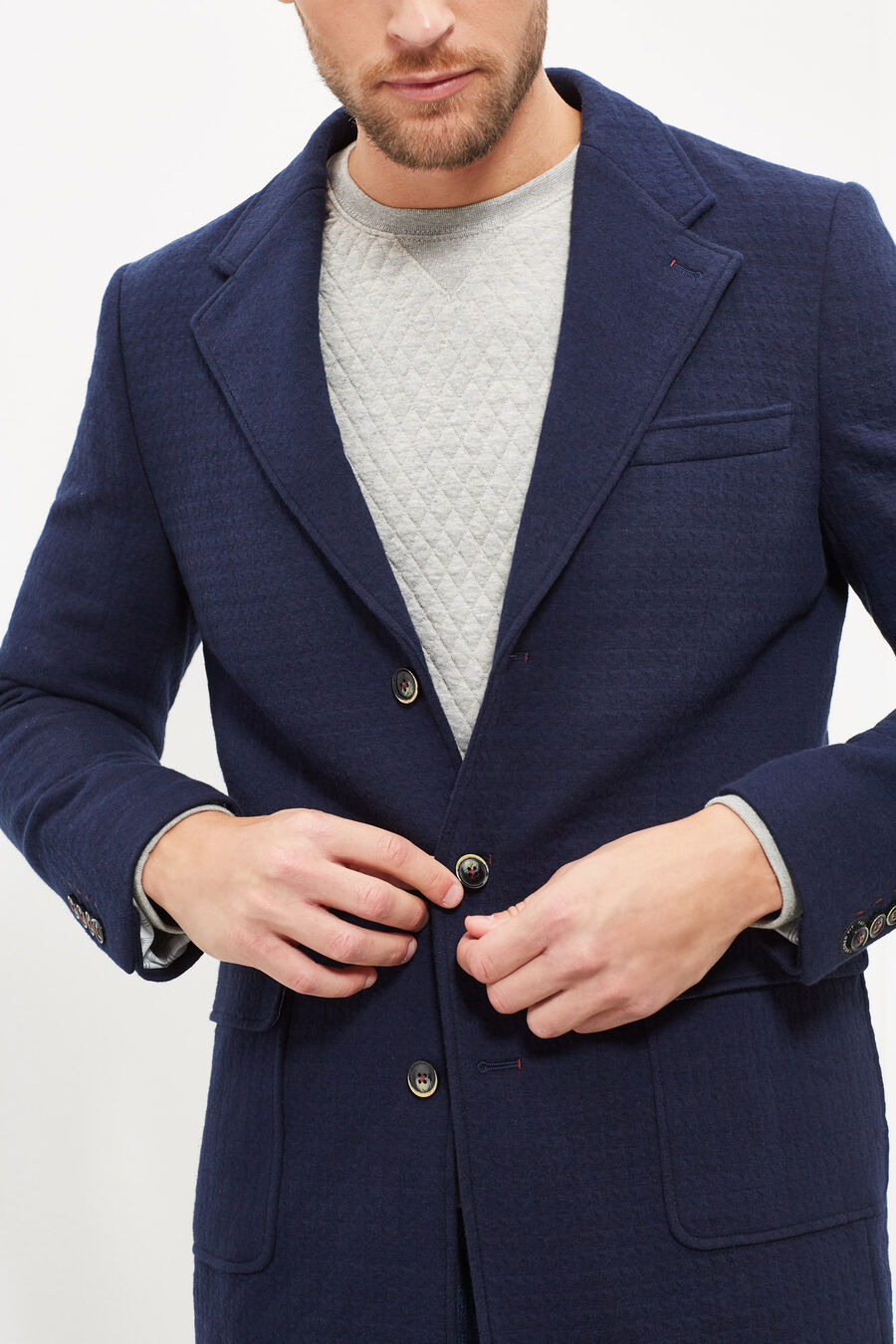 Tailored fit knit coat