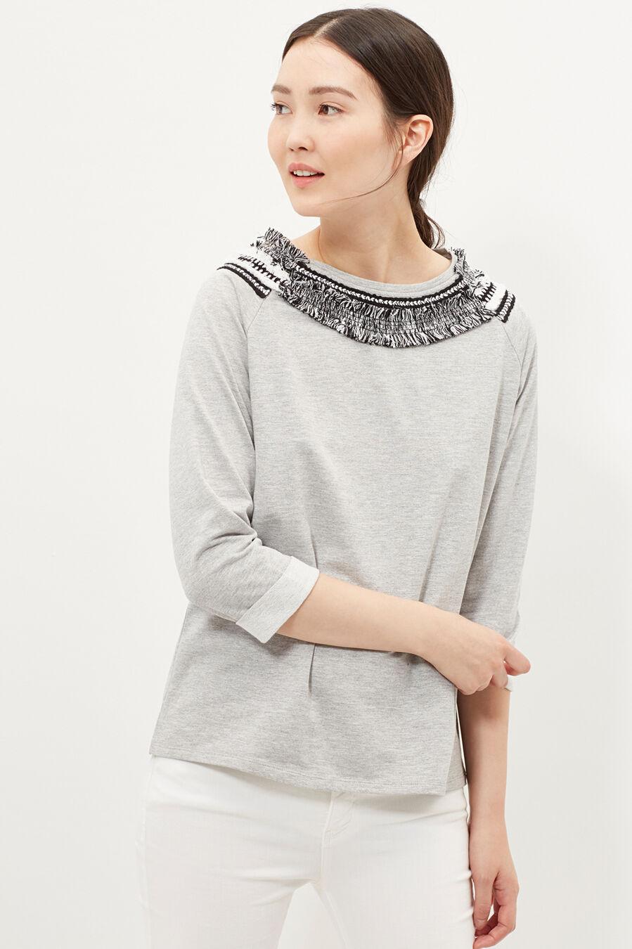 Sweatshirt with fringing