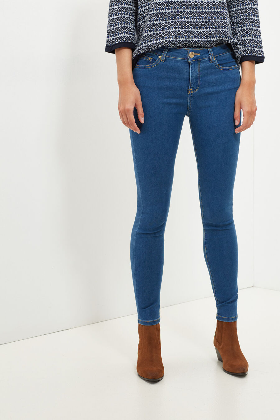 Skinny fit denim trousers