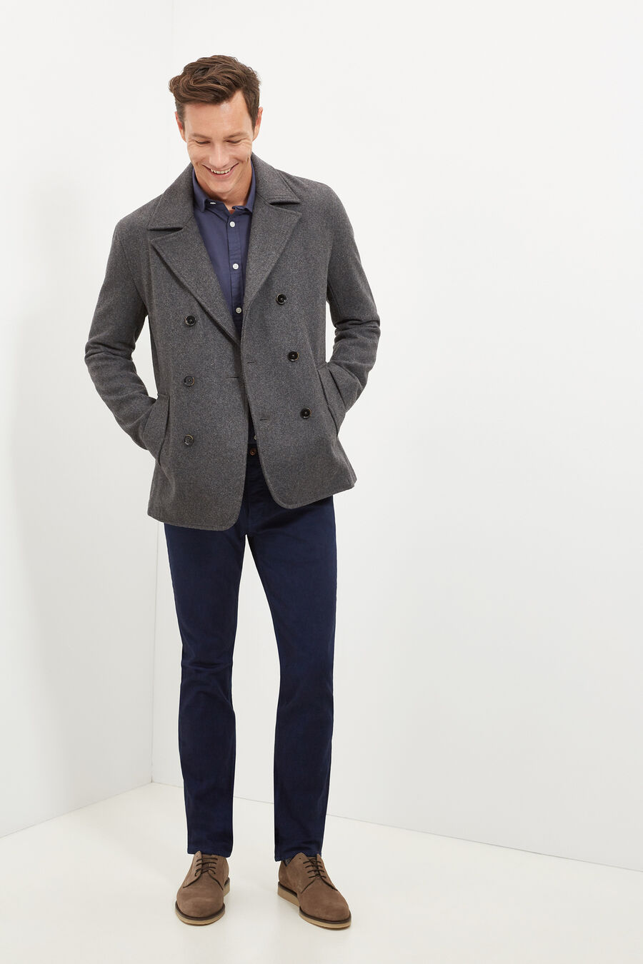 Double breasted tailored fit short coat