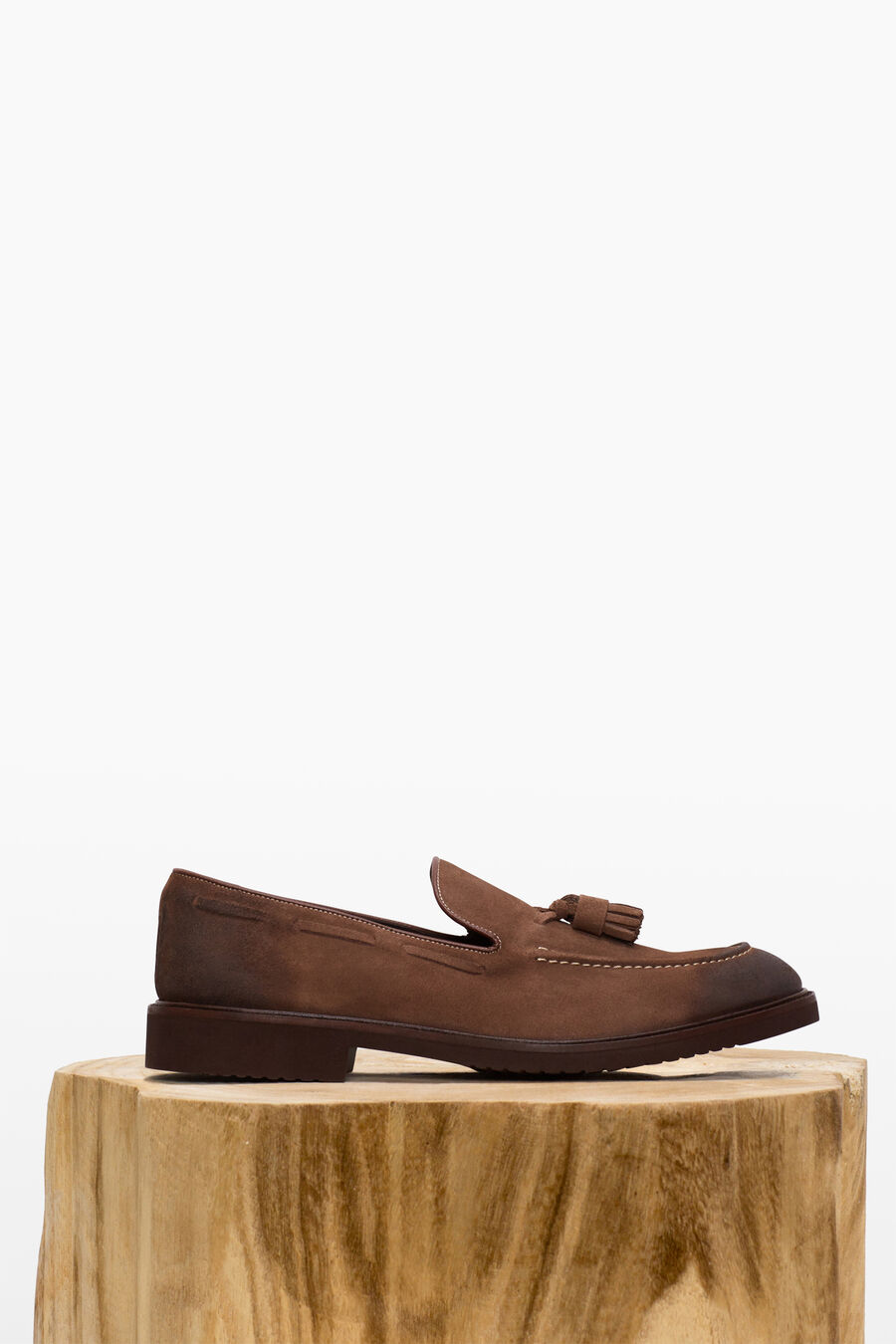 Split leather moccasin