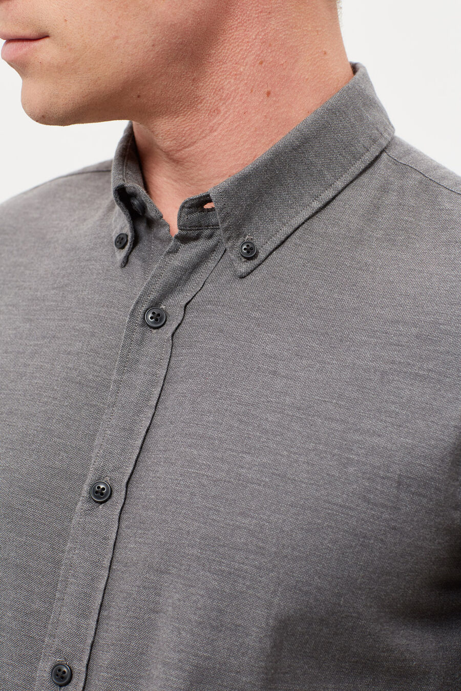 Micro herringbone slim fit shirt