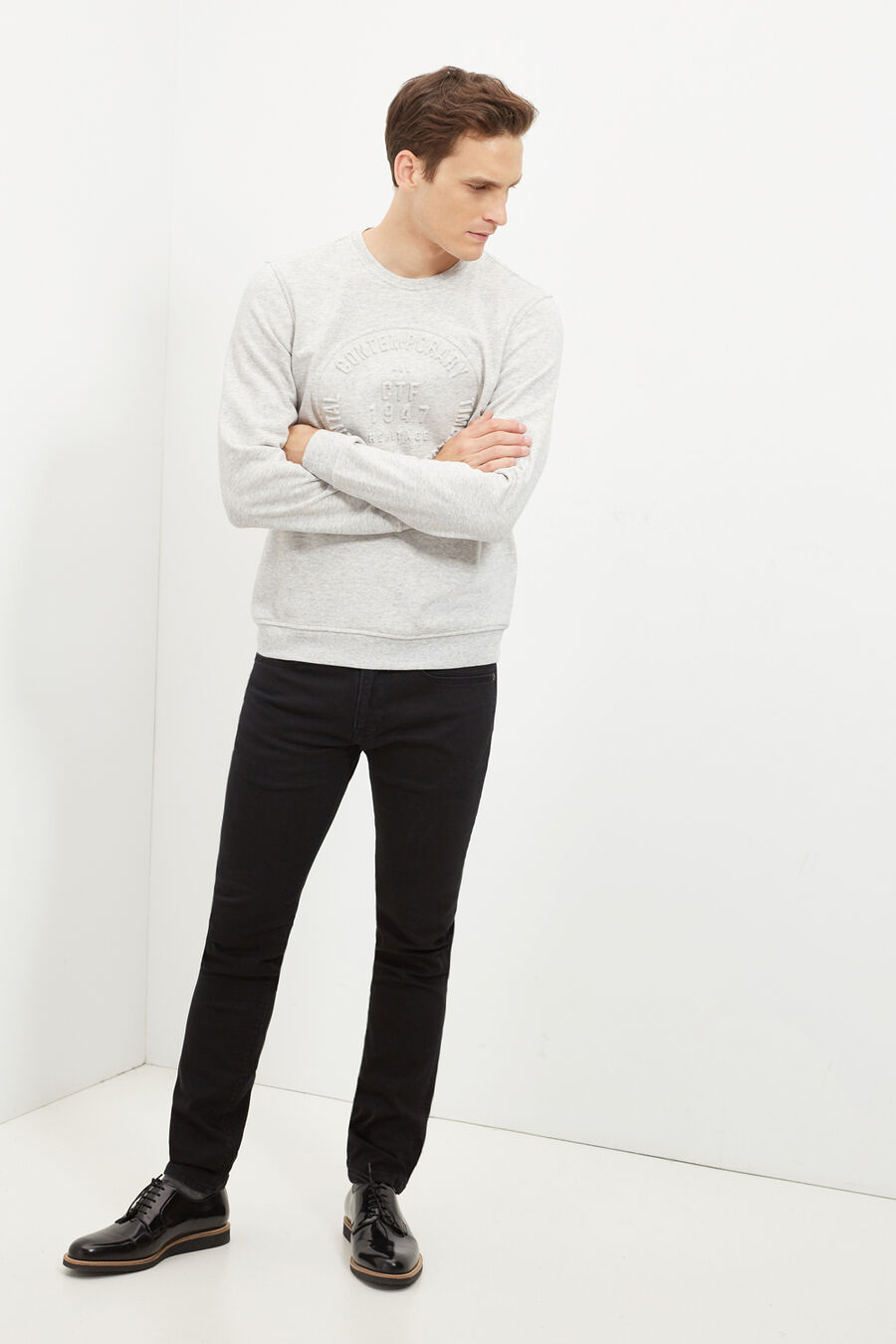 Embossed graphic sweatshirt
