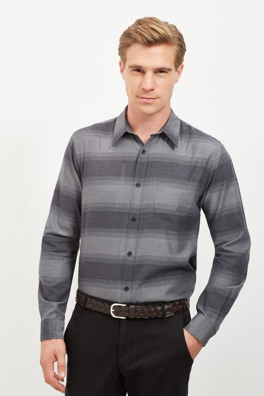 Tailored fit flannel shirt