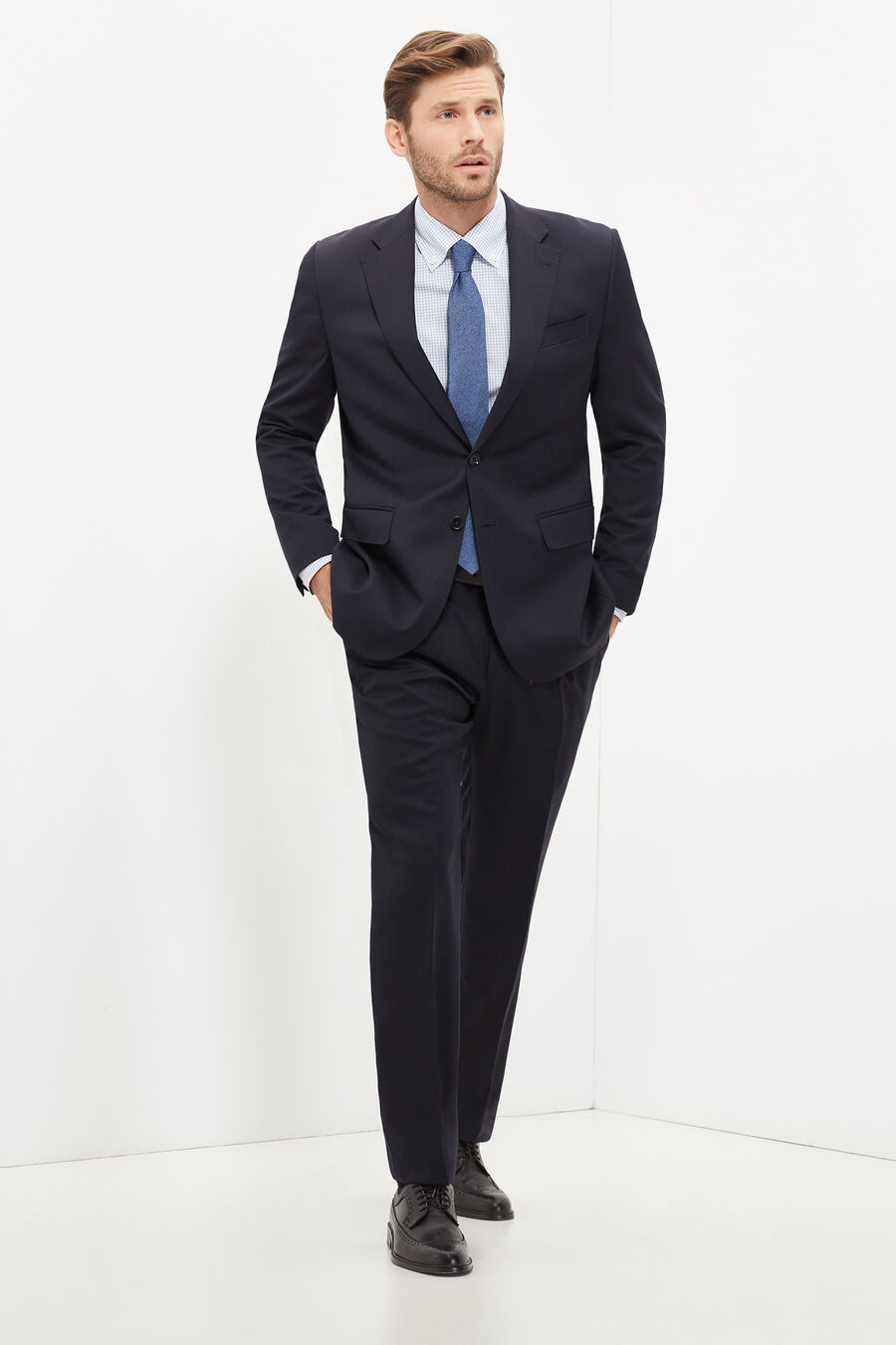 Classic-fit plain suit