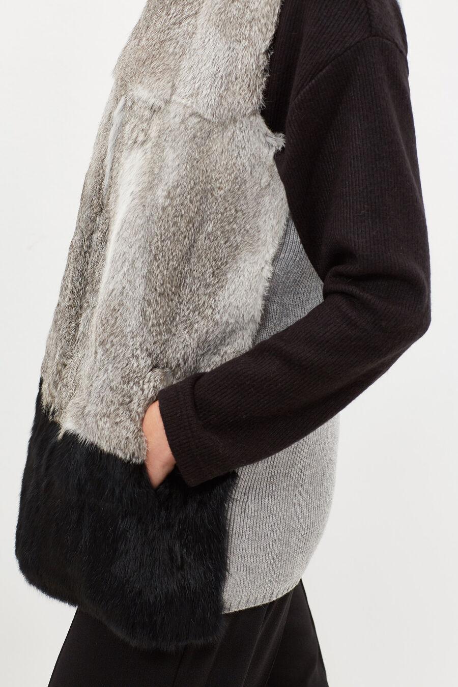 Dual-coloured natural fur gilet
