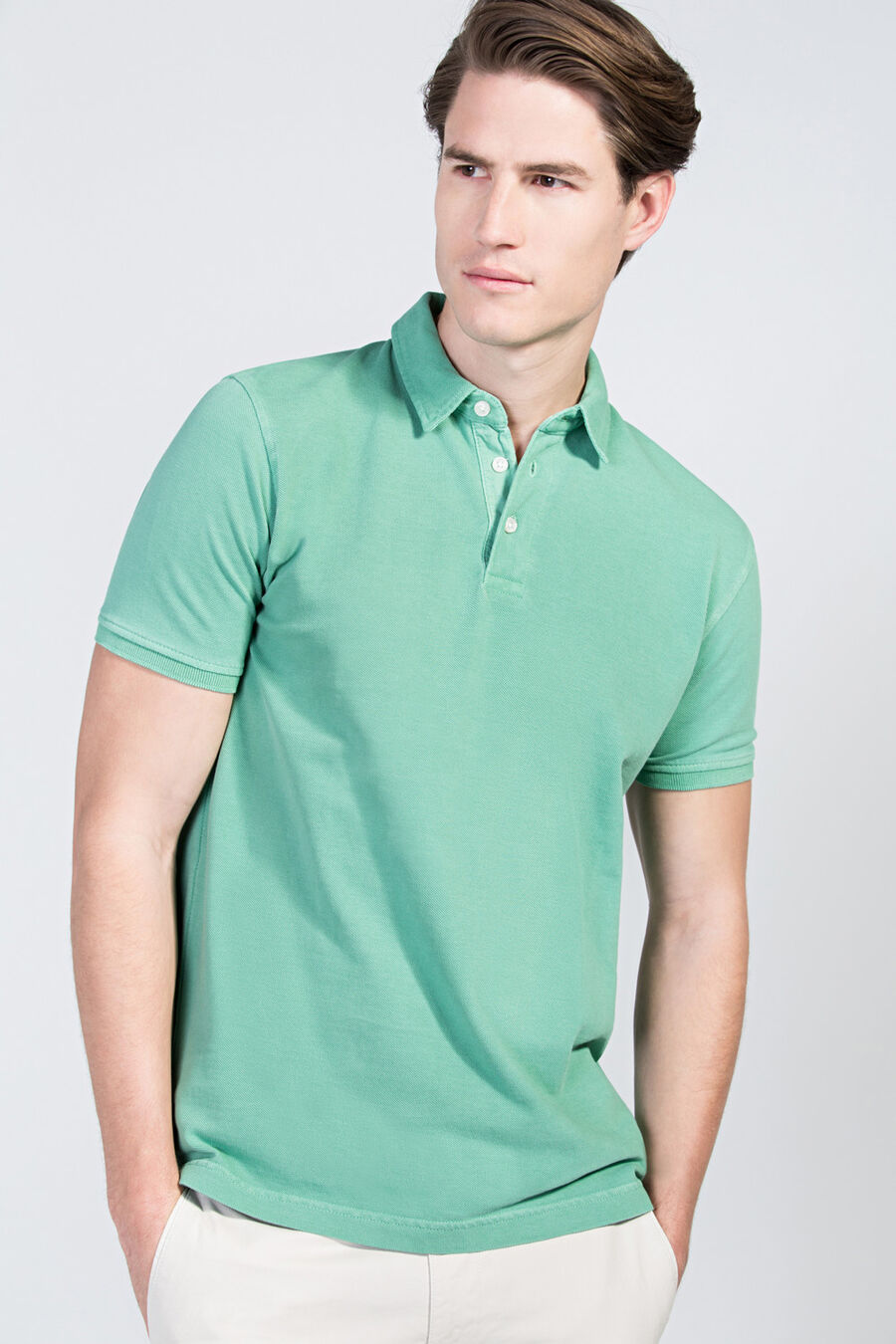 Garment-dyed polo shirt