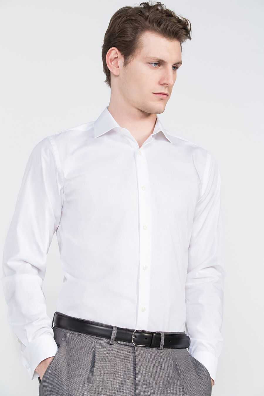 Plain tailored dress shirt