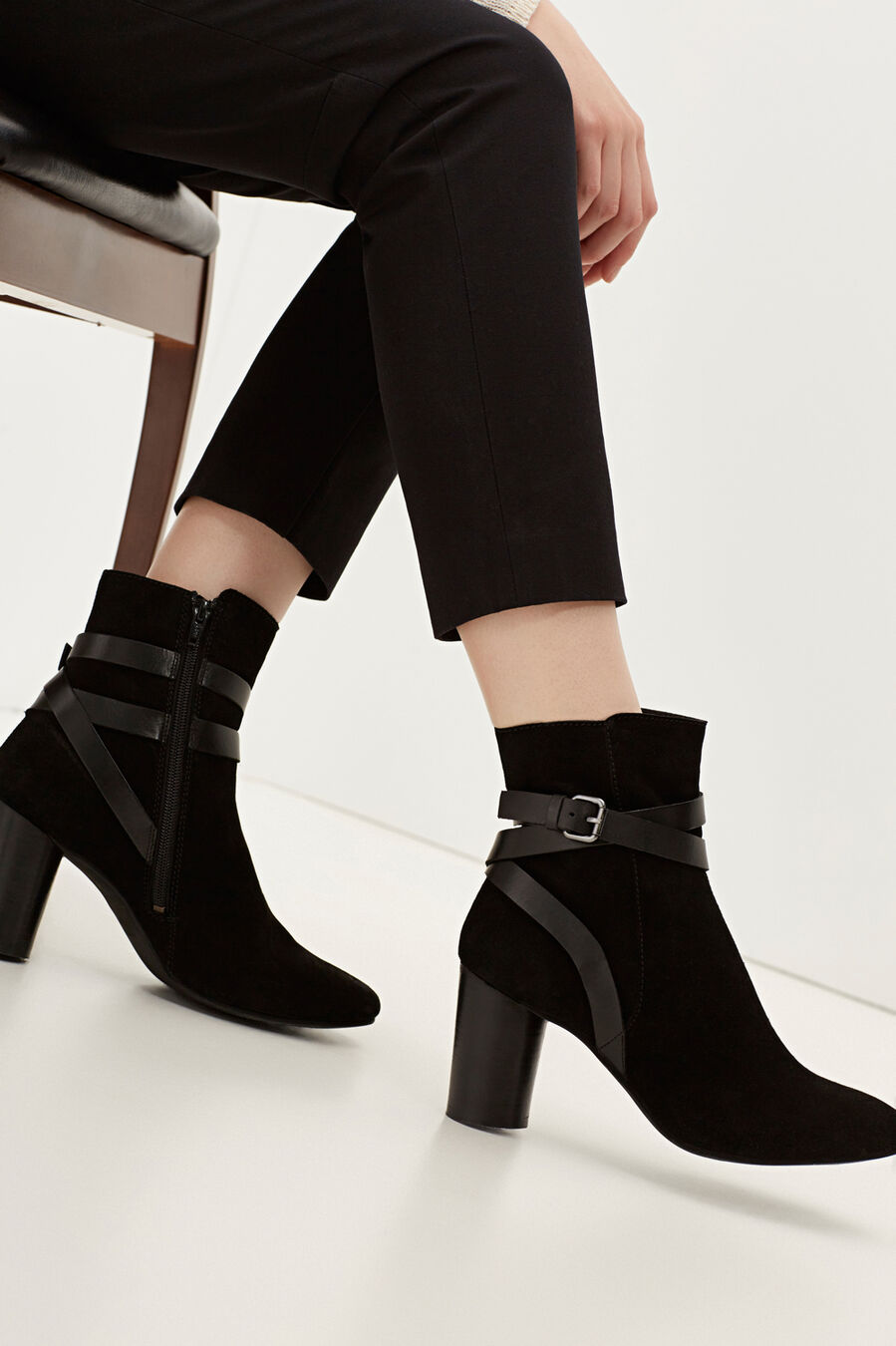Suede ankle boots with straps