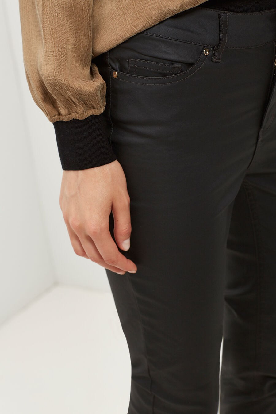 Wax-finish trousers