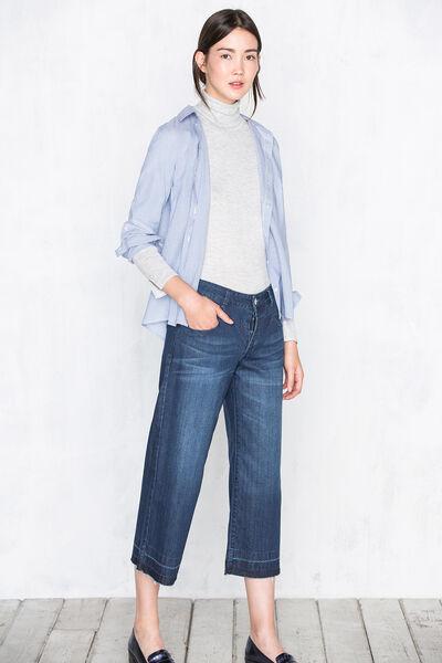 Pantalón 5 bolsillos cropeed contraste