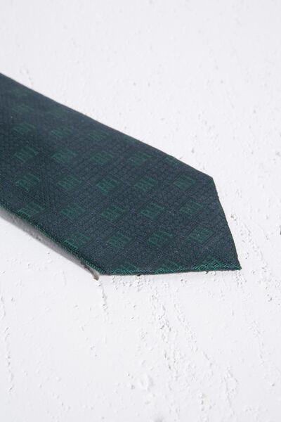 Corbata de seda lisa con logo