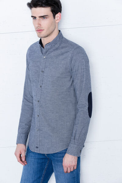 Camisa liso mouline azul