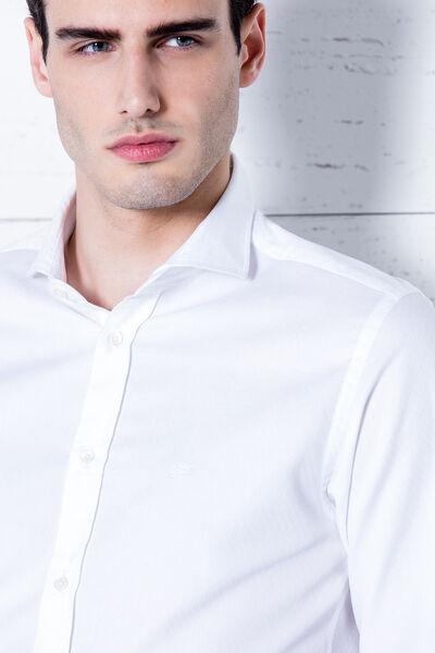 Camisa Jacquard blanco slim