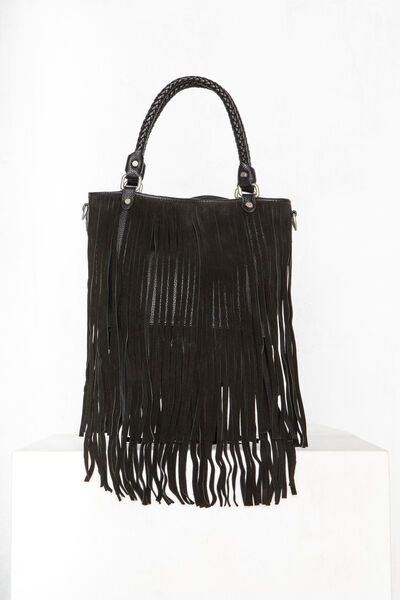 Bolso fringes shopper de piel