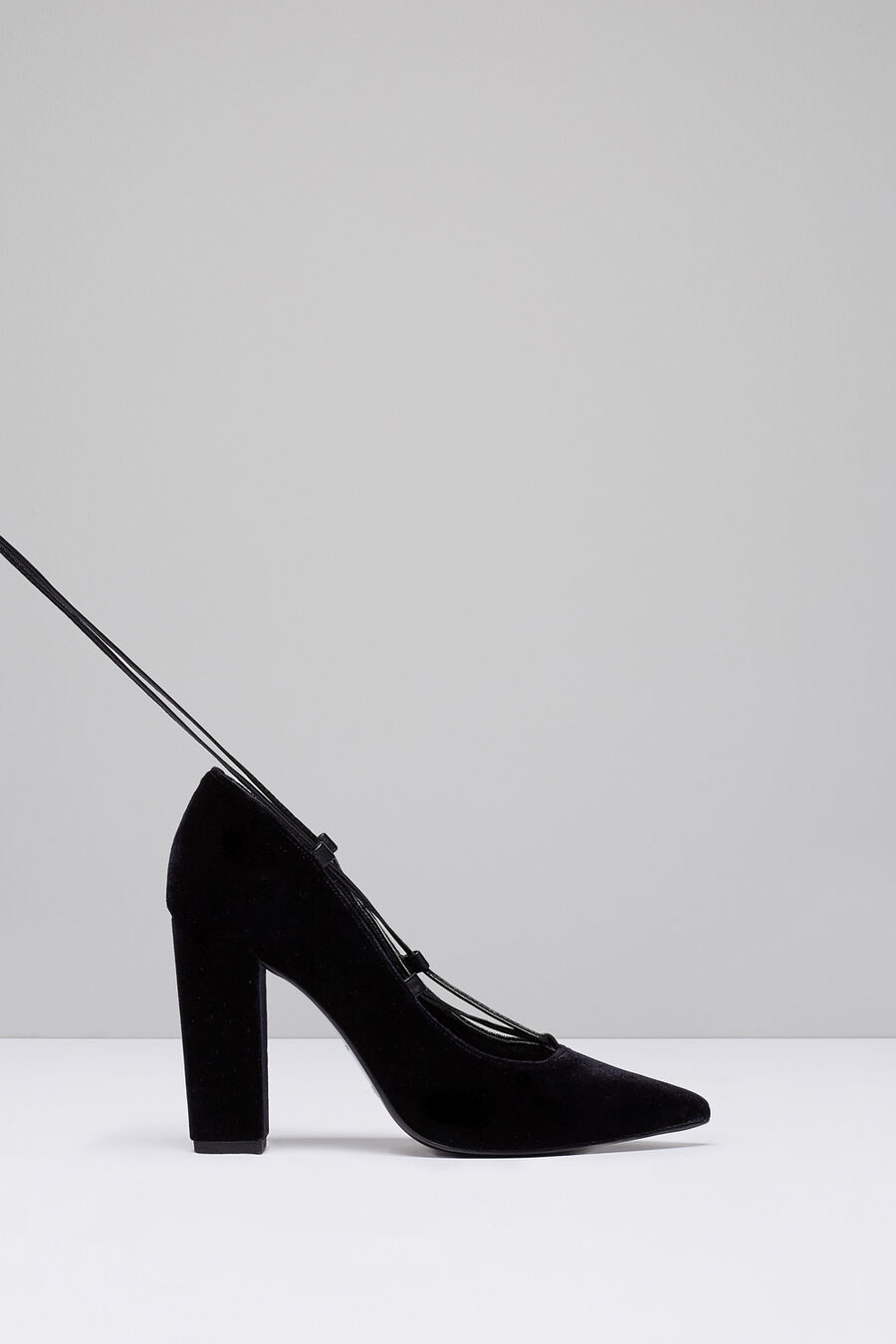 Lace up velvet court shoes