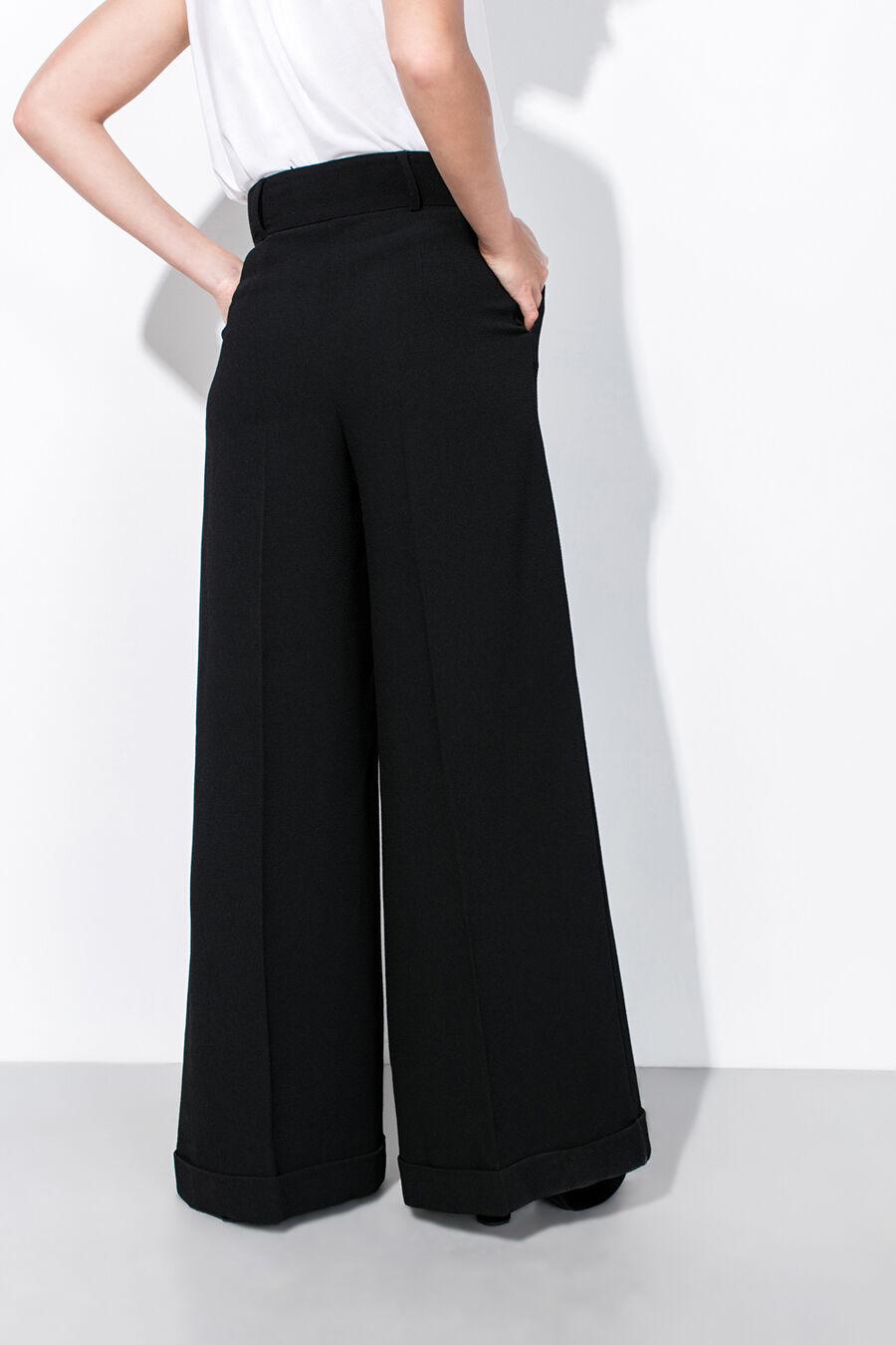 Black wide-leg trousers